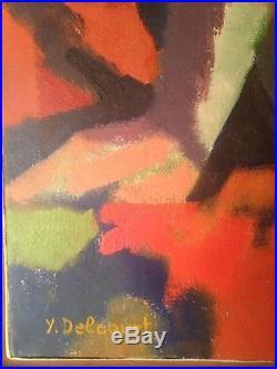 DELCOURT XXe Tableau Cubiste Femme Nue Huile sur toile Signée