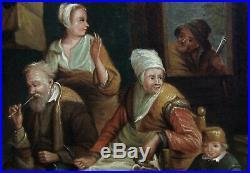 D. Ryckaert 1616-1661 (suiveur) Grande & Belle Toile. Scène D'intérieur Paysan
