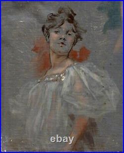 Deux Etudes de Femme, Huile sur toile, attr. Jules Chéret, vers 1900