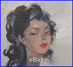 Domergue Jean-Gabriel (1889-1962) Portrait d'une élégante Huile sur toile v16