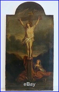 ECOLE FLAMANDE du XVIIIè. Marie Madeleine au pied de la Croix. Suiveur de RUBENS