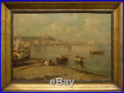 ECOLE NAPOLITAINE 19ème SIECLE Baie de Naples avec personnages