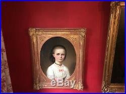 Ecole Allemande du XIXe Portrait de petite fille Cadre en bois doré