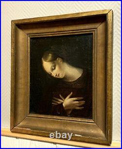 École Française 1800 huile sur toile encadrée portrait de femme a la prière