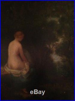 Ecole Française Barbizon XIXe Femme Nue en sous bois Huile sur toile N Diaz