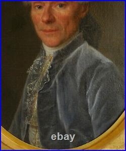 Ecole Française HST XVIIIe siècle portrait de gentilhomme d'époque Louis XVI