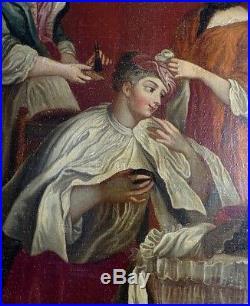 École Italienne du XVIIIe Siècle Femme de Qualité à Sa Toilette & Ses Servantes