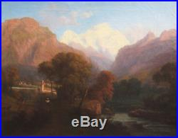 Ecole Suisse Italienne Tableau Paysage Alpes Montagnes Italie France Huile Toile