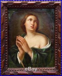 École française XVIII Marie Madeleine pénitente huile sur toile avec cadre 26x19