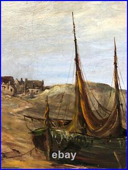 Ecole française fin XIXe, début XXe. Marine, huile sur toile