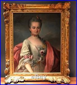 École française vers 1770 portrait délégant (huile sur toile) cadre Louis XV