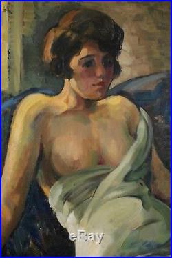 Edmond Delsa, 1875, Jeune femme, Liège 1926, Nu, Grand format, Cote 1.400 euros