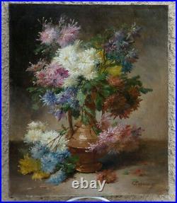 Edmond Van Coppenolle 1846-1914. Grande & Lumineuse Toile Au Bouquet De Fleurs