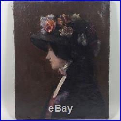 Elégante au chapeau fleuri, tableau ancien, vers 1900