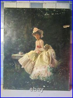 Elégante dans un parc en robe Worth. Huile 50x61cm. Auguste ToulmoucheSuper. Be