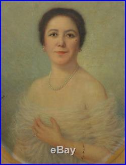 Emile Bulcke Portrait de femme Huile sur toile début XXème siècle Ecole belge