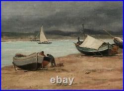 Émile Louis VERNIER peintre marine tableau paysage Catalogne Espagne bateaux mer