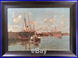 Eudes de Retz Port de Dunkerque 1890 huile sur toile