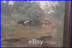 Eugène Labitte Concarneau huile sur toile peinture vache campagne retour du pré