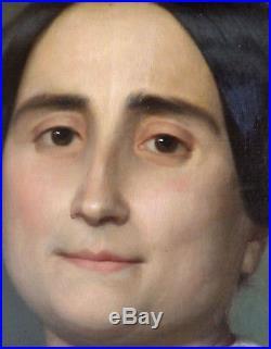 Félix -auguste Clément 1826-1888. Grand & Magnifique Portrait De Bourgeoise 1855