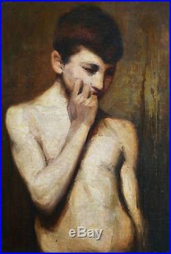 Fernand CORMON tableau huile académie portrait jeune garçon adolescent torse nu