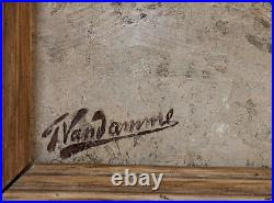 Frans Van Damme 1860-1925. Beau Paysage Hivernal & Hameau Animé Sous La Neige