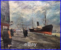 Fred Pailhes Promeneurs Sur Un Quai Du Port du Havre Huile 1924 Normandie