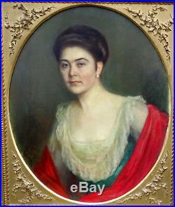 Fritz Mock Portrait de femme Huile sur toile époque début XXème siècle 1916