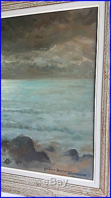 GAILLARD DESCHAMPS Huile sur Toile HST Tableau XXe Peinture Bateaux Clair Lune