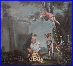 GRANDE HUILE SUR TOILE, SCENES DE JARDINAGE, Ecole française, fin XVIIIème