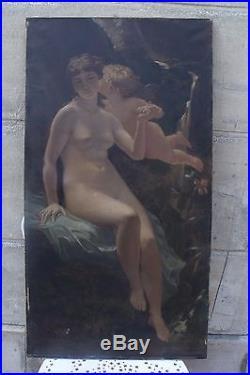 Grande Huile S/toile 19/20 Eme Venus Et L Amour Femme Nue Et Putti
