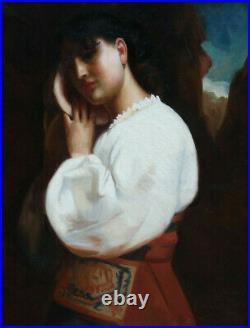 GRANDE & MAGNIFIQUE TOILE XIXe. JEUNE FEMME D'ITALIE AU COQUILLAGE. SIGNATURE