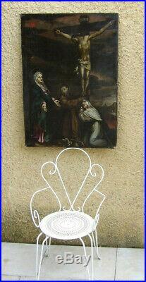GRANDE & RARE PEINTURE XVIIe. PUISSANTE CRUCIFIXION & MARIE-MADELEINE COURONNÉE
