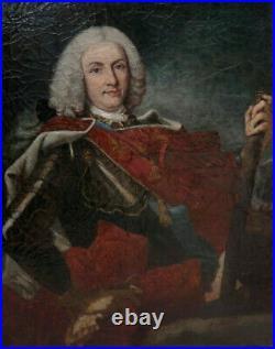 GRAND & BEAU TABLEAU XIXe. PORTRAIT DU ROI D'ESPAGNE PHILIPPE V, DAPRÈS VAN LOO