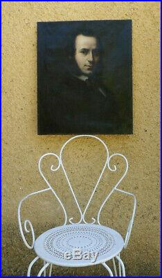 GRAND & EXCEPTIONNEL PORTRAIT XIXe. AUTOPORTRAIT D'ARTISTE SIGNÉE G L 1851