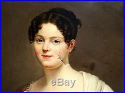 GRAND Portrait de Femme Tableau HST vers 1840 A Restaurer Delambre 60x50 cm