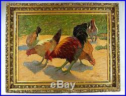 GRAND & SUPERBE TABLEAU FIN 19è ECOLE DE PONT-AVEN 1900 H/T IMPRESSIONNISTE 1900