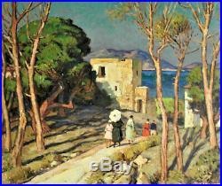 G. Vidal Promeneurs en bord de mer Huile sur toile, v854