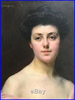 Gaston Casimir Saint-pierre Tableau Hst Portrait Femme Peinture Originale 1907