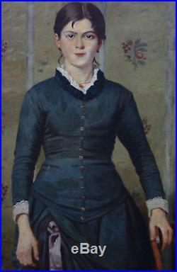 Giovanni Ottolini Portrait de femme Huile sur toile finn XIXème siècle