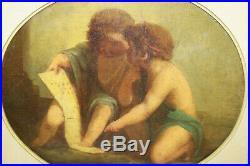 Grand Haut de trumeau encadré Huile sur toile ovale Scène d'enfant à la lecture