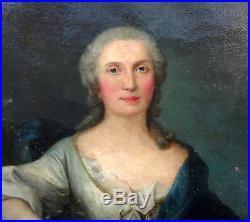 Grand Portrait de femme Epoque Louis XIV Ecole Française Huile sur toile