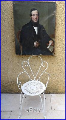 Grand Tableau 1859. Beau Portrait De Bourgeois A La Chaine D'or. Hoffmann