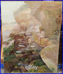 Grand Tableau Huile Marine Mer Nus Rochers JEAN-FRANCIS AUBURTIN 1900 Bretagne