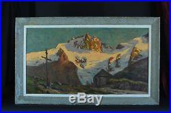 Grand Tableau Montagne Alpes Coucher de Soleil La Meije 1930 signé sv. Poignant
