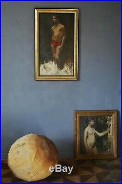 Grand portrait à l'huile, en pied signé Fourcade 80 x 50 HST