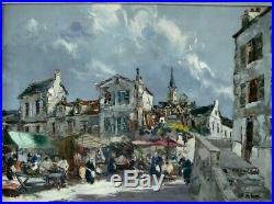 Grand tableau 1950 P Wilnay marché dans un village de Bretagne école bretonne