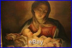 Grand tableau Ecole 18e huile sur toile Sainte Vierge à l'Enfant