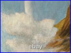 Grand tableau HST XIX siècle Femmes dans un ciel signé P Nancey 123cm x 123cm