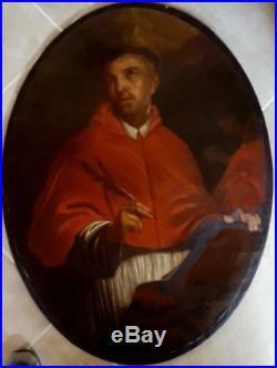 Grand tableau ancien 17è ou 18ème religieux portrait de Saint